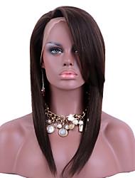 Недорогие -человеческие волосы Remy Полностью ленточные Парик Бразильские волосы Прямой Парик Челка на бок 130% Плотность волос с детскими волосами Природные волосы Парик в афро-американском стиле 100
