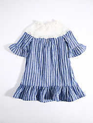 cheap -Girl's Daily Striped Dress, Cotton Summer Stripes Blue