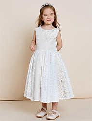 A-Line Tea Length Flower Girl Dress - Lace Satin Sleeveless Jewel Neck with Lace by thstylee