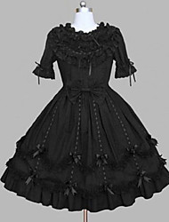 cheap -Gothic Lolita Dress Princess Punk Women's Girls' One Piece Dress Cosplay Black Cap Short Sleeves