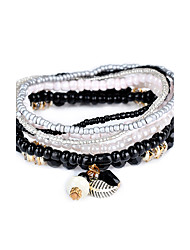 cheap -Lureme Bohemian Beads Leaf Charms Multi Strand Textured Stackable Bracelet Set