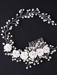 Handmade Headband With Vine Gorgeous Floral Pearl Crystal Hair Comb Bridal Tiara Head Jewelry Wedding Hair Accessories