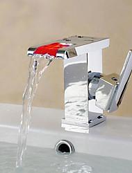 Moderne Modern Mittellage Keramisches Ventil Einhand Ein Loch for  Chrom , Waschbecken Wasserhahn