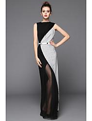Недорогие -Жен. Из двух частей Платье - Однотонный Полосы / волосы, Перекрещивание Макси