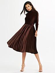 abordables -Mujer Vaina Vestido Casual/Diario Festivos Noche Vintage Simple,Un Color Escote Chino Midi Manga Larga Algodón Poliéster Primavera Tiro