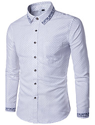 cheap -Men's Slim Shirt - Polka Dot Basic Spread Collar