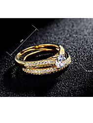 cheap -Women's AAA Cubic Zirconia Ring - Zircon, Silver Plated, Gold Plated Classic, Fashion, Elegant 6 / 7 / 8 Gold / Silver For Wedding / Party / Engagement / Daily