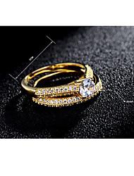 preiswerte -Damen Ring Kubikzirkonia Klassisch Elegant Modisch Zirkon versilbert vergoldet Kreisförmig Modeschmuck Hochzeit Party Verlobung Alltag