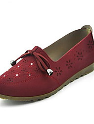 Women's Loafers & Slip-Ons Retro Fabric Spring Summer Casual Retro Flat Heel Ruby Brown Flat