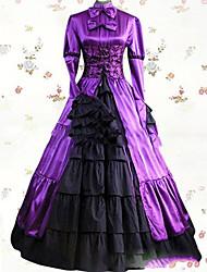 Un Pezzo/Vestiti Gotico Lolita Cosplay Vestiti Lolita Viola Vintage Raccolta Manica lunga Raso terra Abito Per Altro