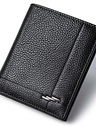 Men Wallets Genuine Leather Short Black Purse High Quality Cowhide Money Bag Casual Credit Card Wallet D6016-2