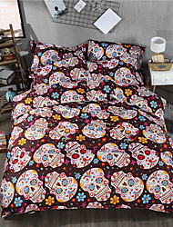 cheap -Duvet Cover Sets Geometric 4 Piece Poly/Cotton Reactive Print Poly/Cotton 1pc Duvet Cover 2pcs Shams 1pc Flat Sheet