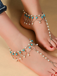 Women's Anklet/Bracelet Imitation Pearl Turquoise Bohemian Drop Silver Women's Jewelry For Daily Casual Sports 1pc