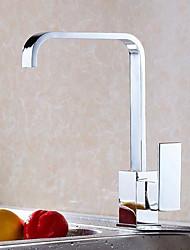 Moderna Torneira com Bica Alta Conjunto Central Válvula Cerâmica Monocomando e Uma Abertura for  Cromado , Torneira de Cozinha