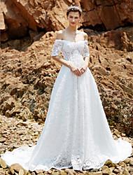 Linha A Cauda Capela Renda Vestido de casamento com Renda de Shiqiushi