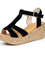 Women's Sandals Club Shoes Leather Summer Casual Wedge Heel Pool Ruby Coffee Fuchsia Black 5in & over