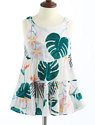 cheap -Girl's Lattice Dress, Cotton Summer Sleeveless Floral White
