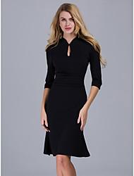 Moulante Robe Femme Bureau/Carrière Sophistiqué,Couleur Pleine Coeur Mi-long Polyester Eté Taille Normale Micro-élastique 30D