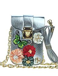 economico -Donna Sacchetti PU (Poliuretano) Similpelle Sacchetto del telefono mobile Con diamantini Con applique Fiori di raso Brillantini Dettagli