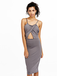 cheap -Women's Bodycon Sheath Dress - Solid Colored, Backless Mesh