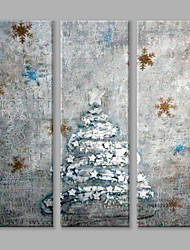 IARTS Oil Painting Modern Abstract Christmas Tree Set of 3 Art Acrylic Canvas Wall Art For Home Decoration