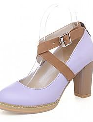 Для женщин Обувь на каблуках Дерматин Полиуретан Лето Осень Для прогулок Пряжки На толстом каблуке Белый Лиловый Розовый 7 - 9,5 см
