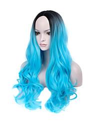 Ženy Dlouhý Modrá Vlnité Ombre vlasy Umělé vlasy Bez krytky Přírodní paruka Paruka Halloween Karnevalová paruka paruky