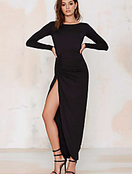 Women's Going out Party Simple Street chic Sheath Dress,Solid Boat Neck Maxi Long Sleeve Silk Spring Summer High Rise Micro-elastic Thin