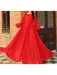 Women Party Special Occasion Vintage Street chic Chiffon Skater Dress,Solid Round Neck Maxi Long Sleeve Silk Cotton Spring Summer Mid Rise