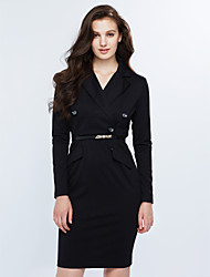 Women's Work Sexy Shift Dress,Solid Shirt Collar Knee-length Long Sleeve Black Polyester Spring