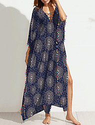 cheap -Women's Beach Casual Loose Dress Print Maxi V Neck
