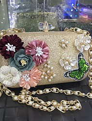 cheap -Women's Bags leatherette Rhinestone Beading Petal Satin Flower Embroidery Pearl Detailing Floral Metallic Pattern Flower Chain for