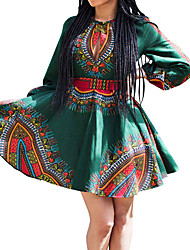 cheap -Women's Daily Going out Vintage Sexy Boho Sheath Swing Dress,Print Crew Neck Above Knee Long Sleeves Polyester Spring Fall High Rise