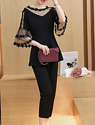 Women's Casual/Daily Work Party Sexy Cute Street chic Spring Summer Blouse Pant SuitsSolid Round Neck 1/2 Length Sleeve Lace