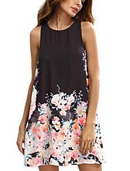 Women's Casual/Daily Street chic Chiffon Dress,Print Round Neck Above Knee Sleeveless Polyester Summer Mid Rise Inelastic Medium