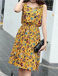 Feminino Solto Vestido,Casual Simples Estampado Decote Redondo Altura dos Joelhos Sem Manga Algodão Verão Cintura Média Micro-Elástica