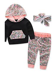 Unisex Floral Sports Fashion Clothing Set,Cotton Fall Fall/Autumn Long Pant Floral Dresswear Black