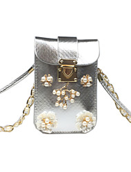 cheap -Women Bags PU leatherette Shoulder Bag Beading Pearl Imitation Pearl Crystal/ Rhinestone Flower for Casual Outdoor All Seasons Gold Silver