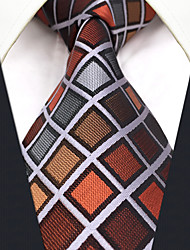 CXL10 New For Mens Extra Long Men's Neckties Brown Multicolor Checked 100% Silk Casual Classic Dress For Men