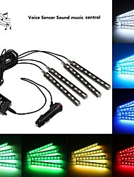cheap -1SET Voice Sensor Music Sound Control Car Atmosphere lamp Wireless Remote Control Interior Floor Decoration Foot Light Ambient RGB Neon Lamp Strip
