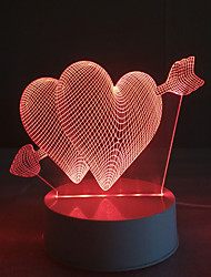 cheap -3D Acrylic Piercing Heart LED Lamp Discoloration Night Lights for Kids Room Decorative Lamps Remote Control Arrow Hearts Lights Lamps for Family