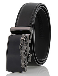 Men's Simple Crocodile Pattern Black Genuine Leather Alloy Automatic Buckle Waist Belt Work/Casual/Party All Seasons