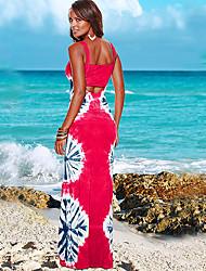 baratos -Mulheres Tubinho Bainha Vestido Sólido Floral Decote em U Profundo Cintura Alta Longo