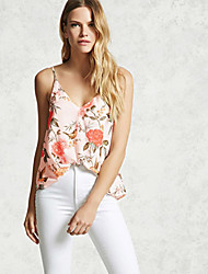 cheap -Women's Daily Casual Going out Sexy Summer Blouse,Floral Strap Sleeveless Polyester Chiffon Medium