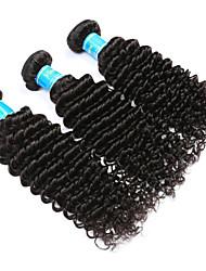 Недорогие -Натуральные волосы Индийские волосы Человека ткет Волосы Глубокие волны Наращивание волос 3 предмета Черный