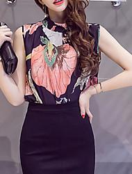 cheap -Women's Vintage Summer Blouse,Floral Stand Sleeveless Polyester Medium