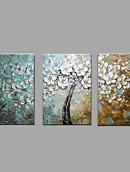 Hand-Painted Abstract Landscape Modern Blooming Flowers Tree Knife Oil Painting On Canvas Stretched Frame Ready To Hang