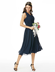 cheap -A-Line V Neck Tea Length Chiffon Bridesmaid Dress with Pleats Ruched Criss Cross by LAN TING BRIDE®