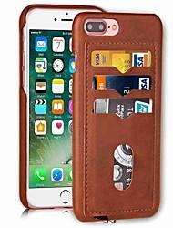 Недорогие -Кейс для Назначение Apple iPhone X iPhone 8 Бумажник для карт Кейс на заднюю панель Сплошной цвет Твердый Кожа PU для iPhone X iPhone 8