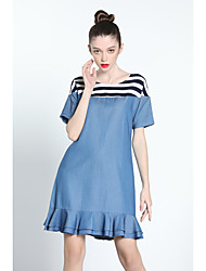 cheap -ZIYI Women's Daily Casual Denim Trumpet/Mermaid Dress,Solid Striped Round Neck Above Knee Short Sleeves Polyester Summer High Rise Inelastic